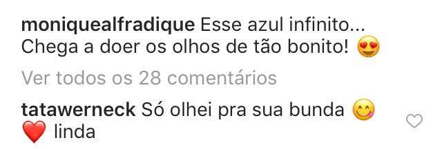 Tatá comenta post de Monique (Foto: Instagram/Reprodução)