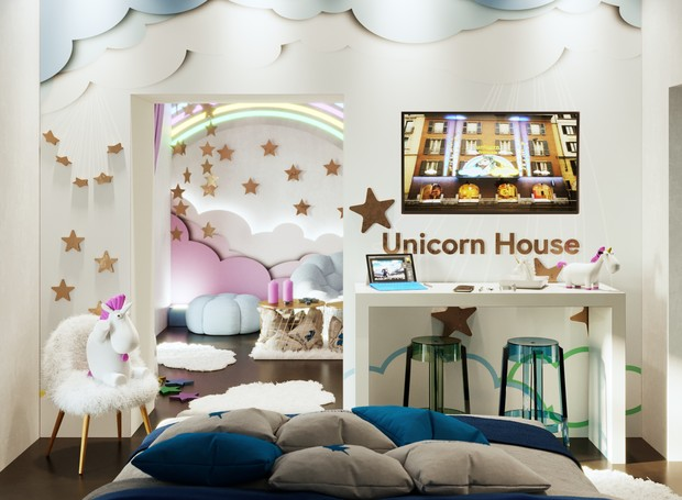 A decoração conta com arco-íris, nuvens, chifres e estrelas (Foto: Divulgação)