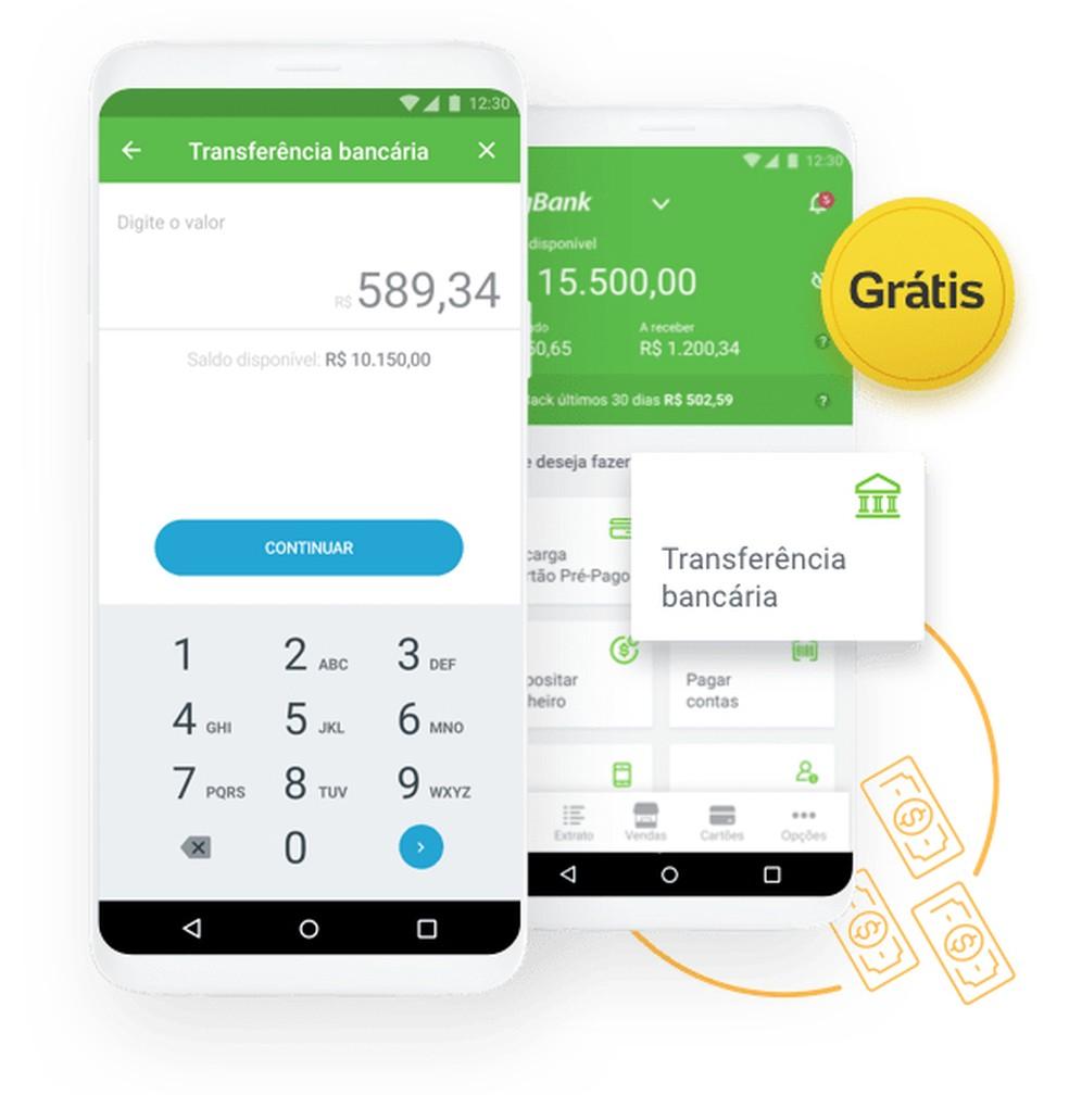 No PagBank, transferências via TED podem ser feitas até cinco vezes ao mês de forma gratuita — Foto: Divulgação/PagBank