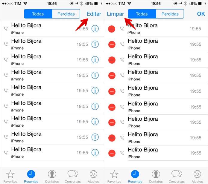 Como limpar os registros de chamadas do WhatsApp do iOS (Foto: Helito Bijora/TechTudo)