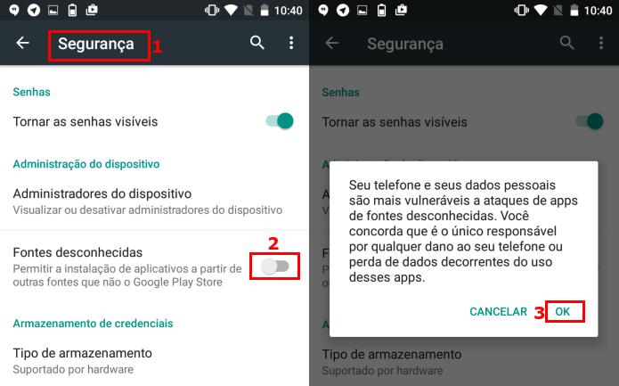Autorizando a instalação de apps de fora da Google Play (Foto: Reprodução/Edivaldo Brito)