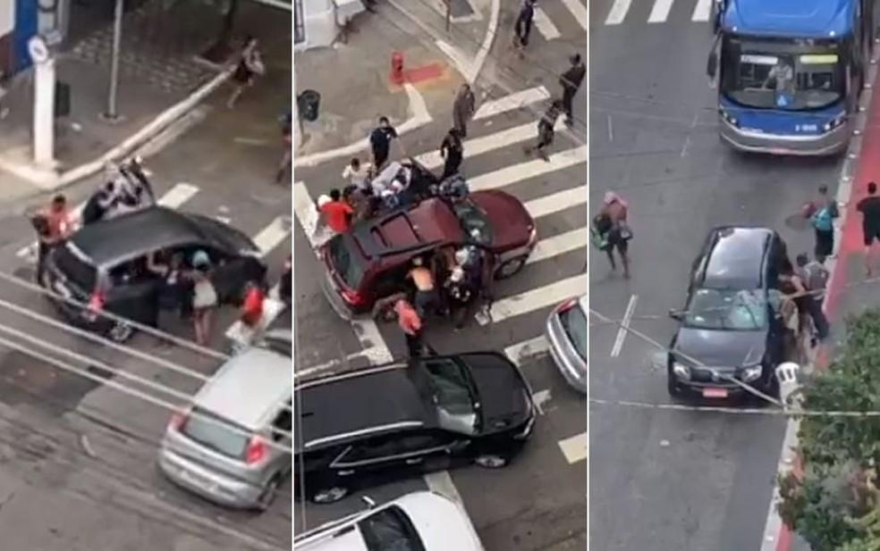 Suspeitos atacaram carros no Centro de SP — Foto: Reprodução