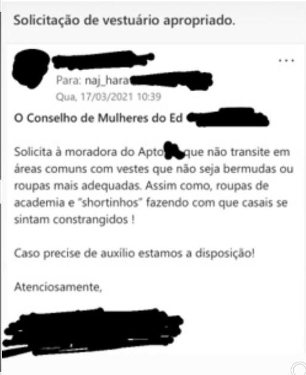 E-mail enviado para moradora do Sudoeste, em Brasília, pede que mulher não use 'shortinhos' em áreas comuns — Foto: Reprodução