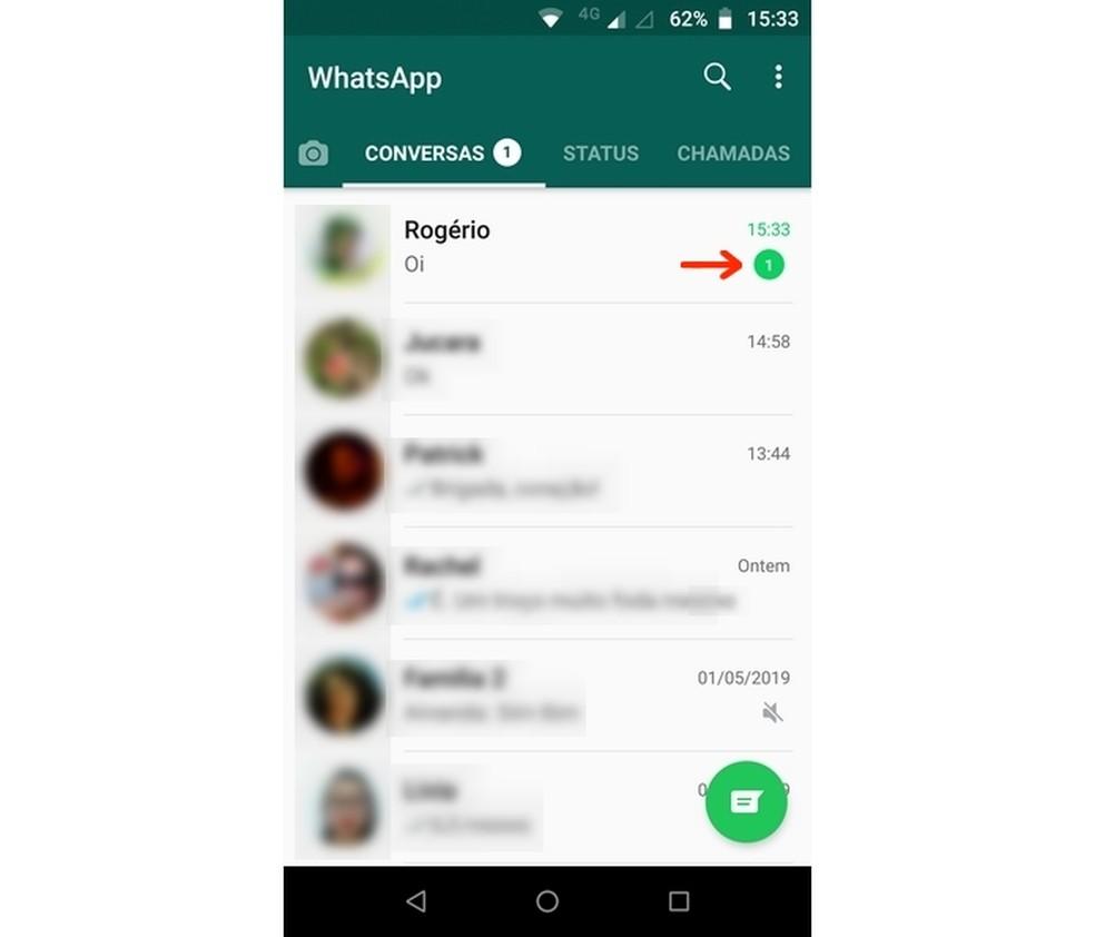 Mensagem no WhatsApp permanece como não lida após ser aberta no Blue Tick, Read Hider — Foto: Reprodução/Raquel Freire