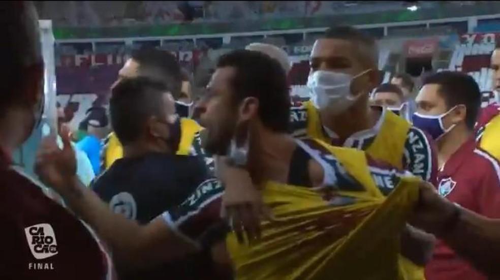 Fred chama membro da delegação do Flamengo para briga — Foto: Reprodução