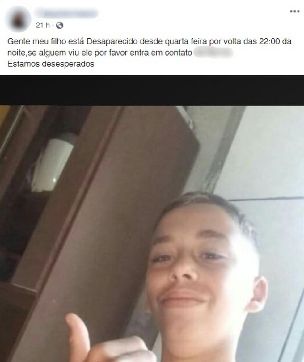 Família publicou pedido de ajuda para encontrá-lo nas redes sociais — Foto: Reprodução/ Redes Sociais