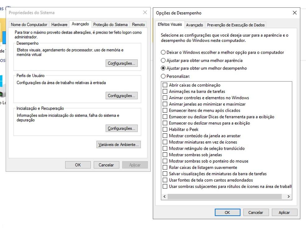 Mude as opções de desempenho do Windows — Foto: Reprodução