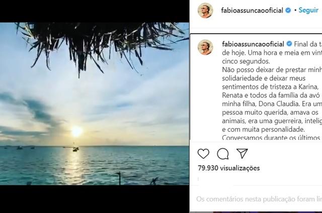 Fabio Assunção faz homenagem a amigos que partiram (Foto: Reprodução/Instagram)
