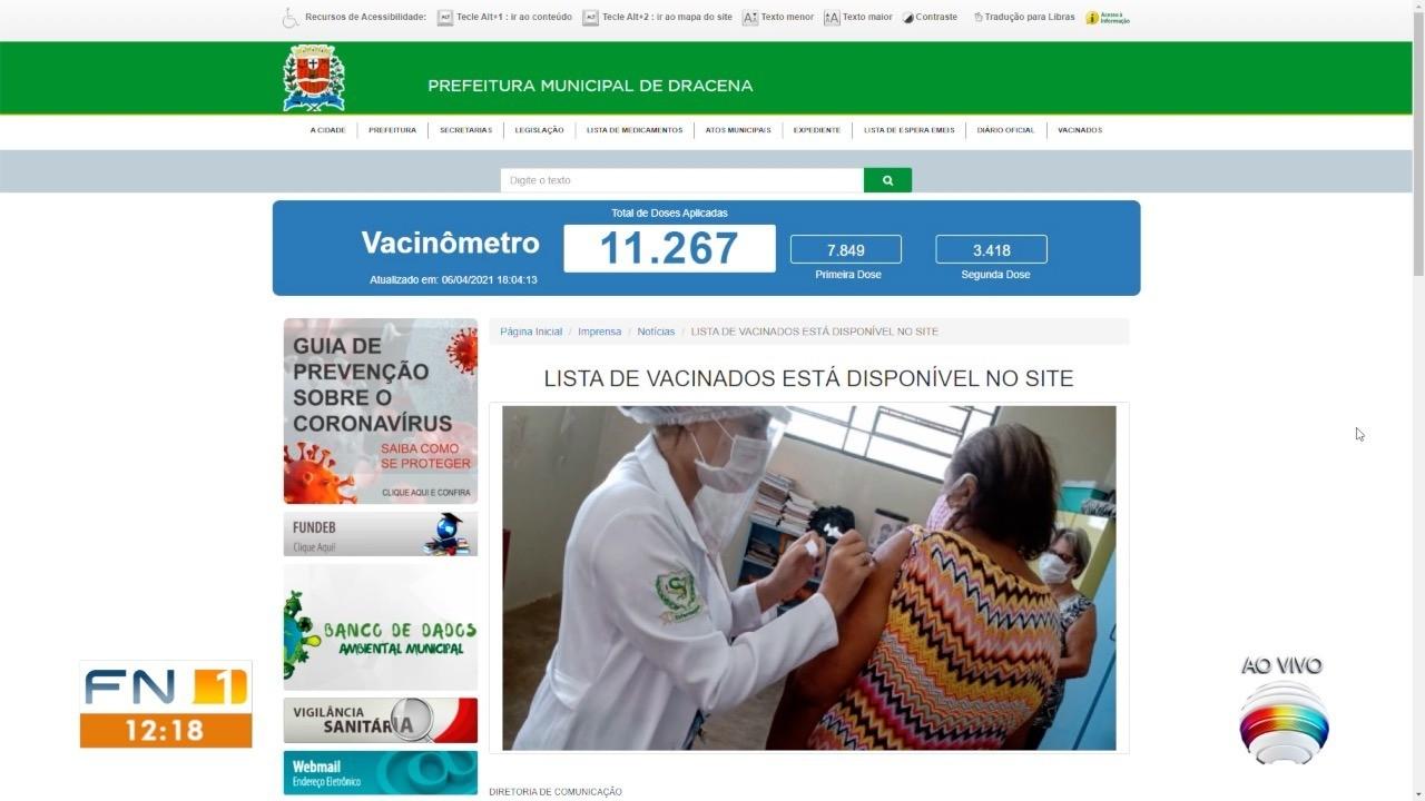 Dracena divulga lista com os nomes das pessoas imunizadas contra a Covid-19