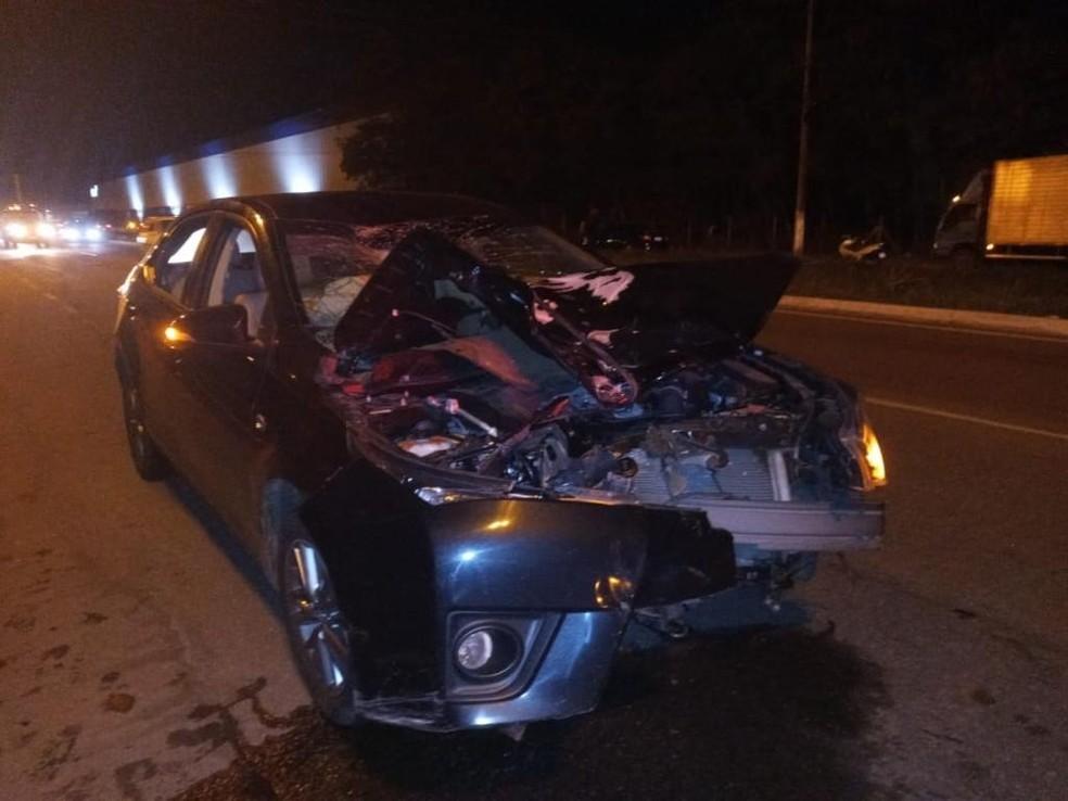 Acidente aconteceu na Rodovia Darly Santos  — Foto: Reprodução/TV Gazeta