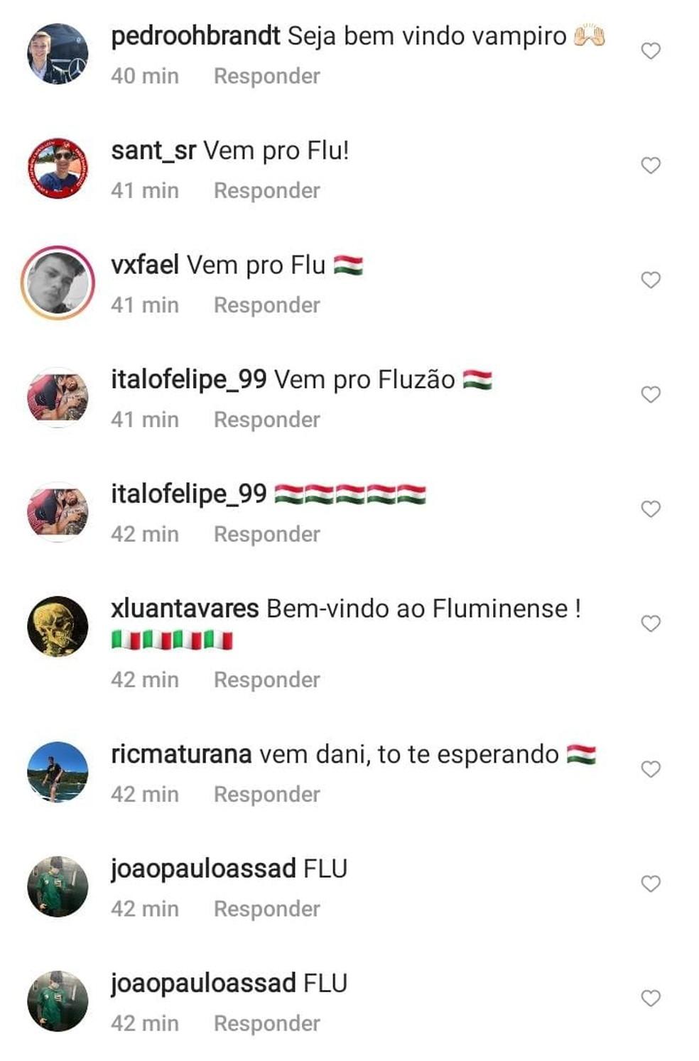 Torcedores do Fluminense invadiram redes sociais de Daniel Alves — Foto: Reprodução / Instagram