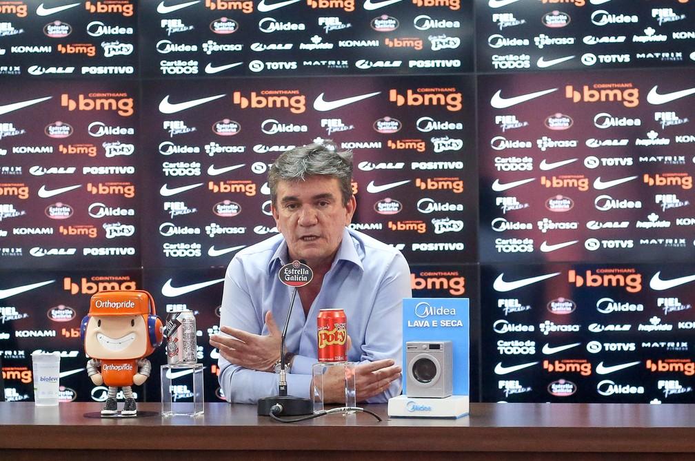 Andrés Sanchez, presidente do Corinthians, durante entrevista coletiva — Foto: Rodrigo Coca/Ag.Corinthians