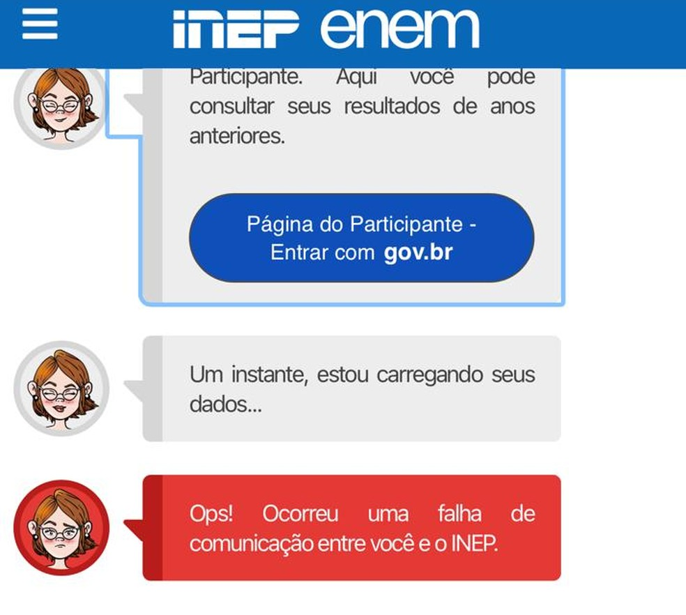 Aviso de erro no site do Inep quando candidato ao Enem tenta cadastrar foto — Foto: Reprodução