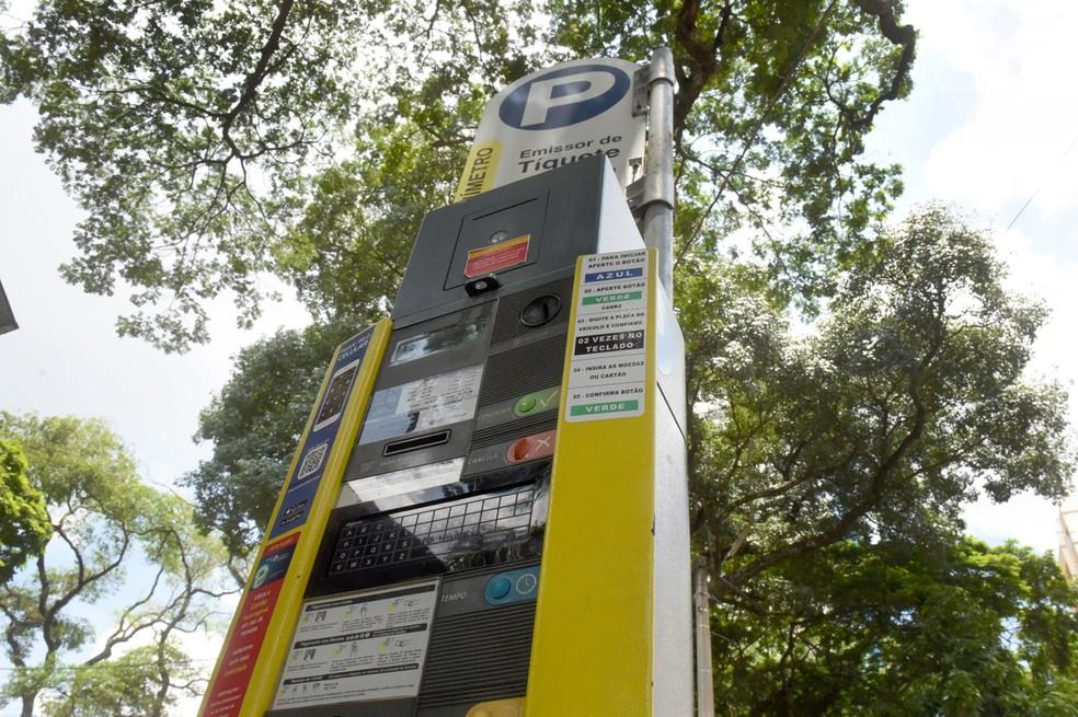 Parquímetro de cobrança do estacionamento rotativo em Piracicaba — Foto: Fabrice Desmonts/Câmara Municipal de Piracicaba