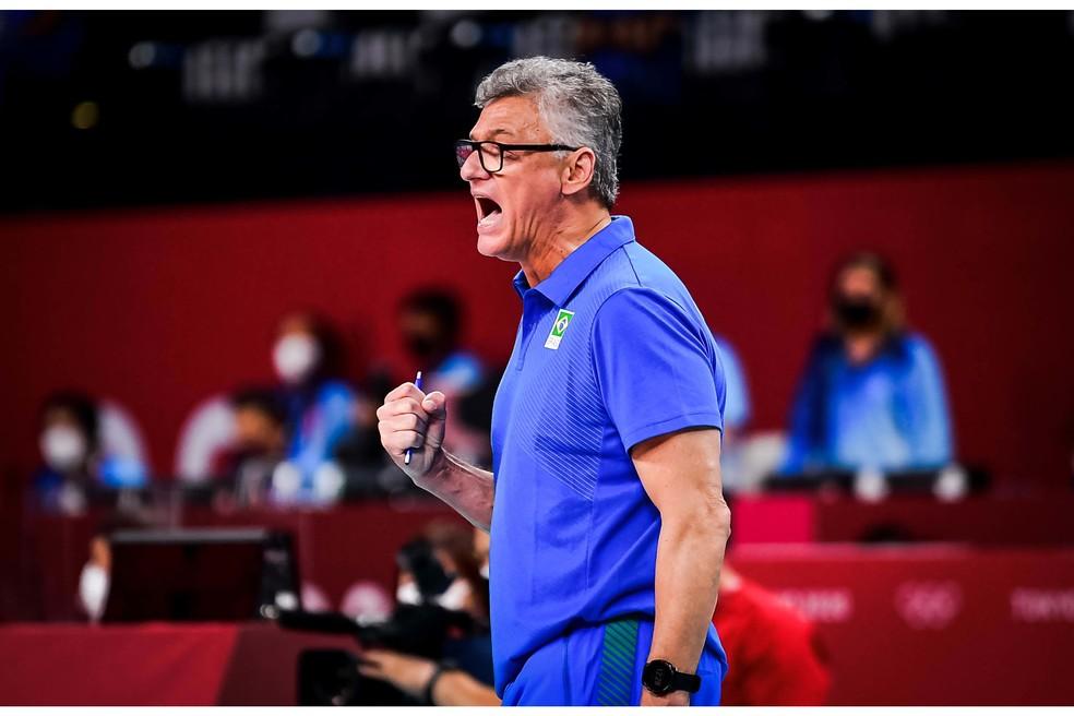 Renan Dal Zotto, durante a partida contra a Tunísia — Foto: Divulgação/FIVB