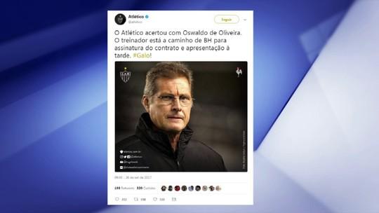 """Para narrador, Atlético-MG """"não quis arriscar"""" com Oswaldo de Oliveira"""