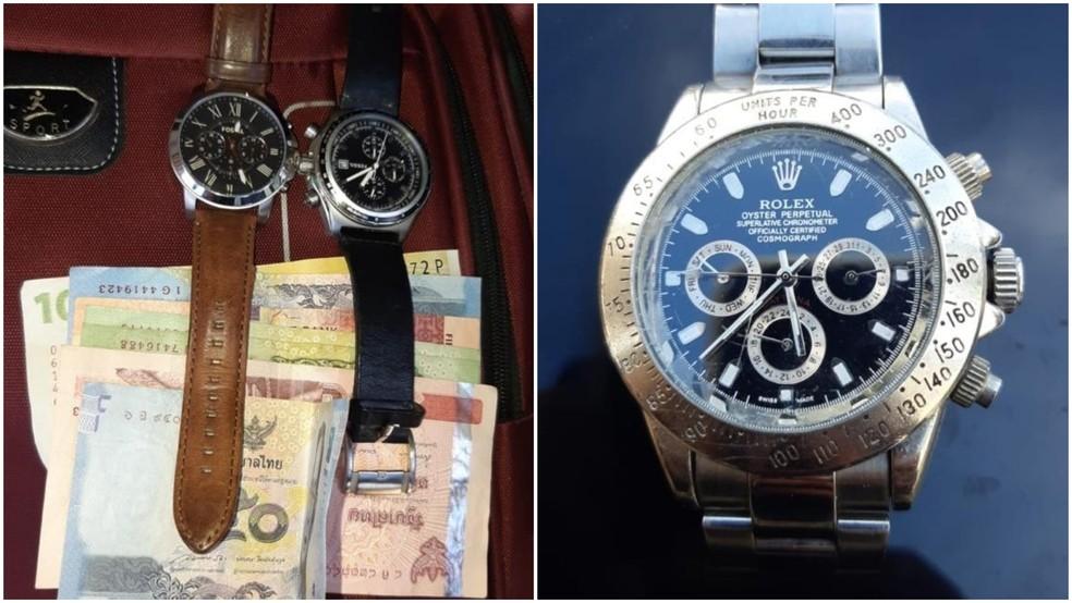 Relógios e dinheiro encontrado com o grupo, após abordagem no interior da Bahia — Foto: Divulgação/Polícia Civil