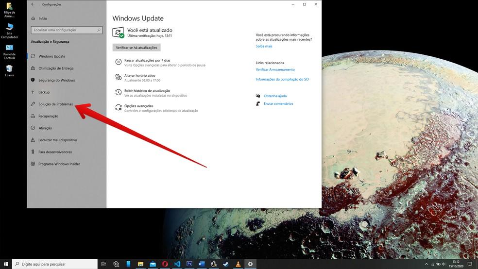 """""""Solução de problemas"""" automática do Windows 10 pode eliminar os problemas do Update — Foto: Reprodução/Filipe Garrett"""