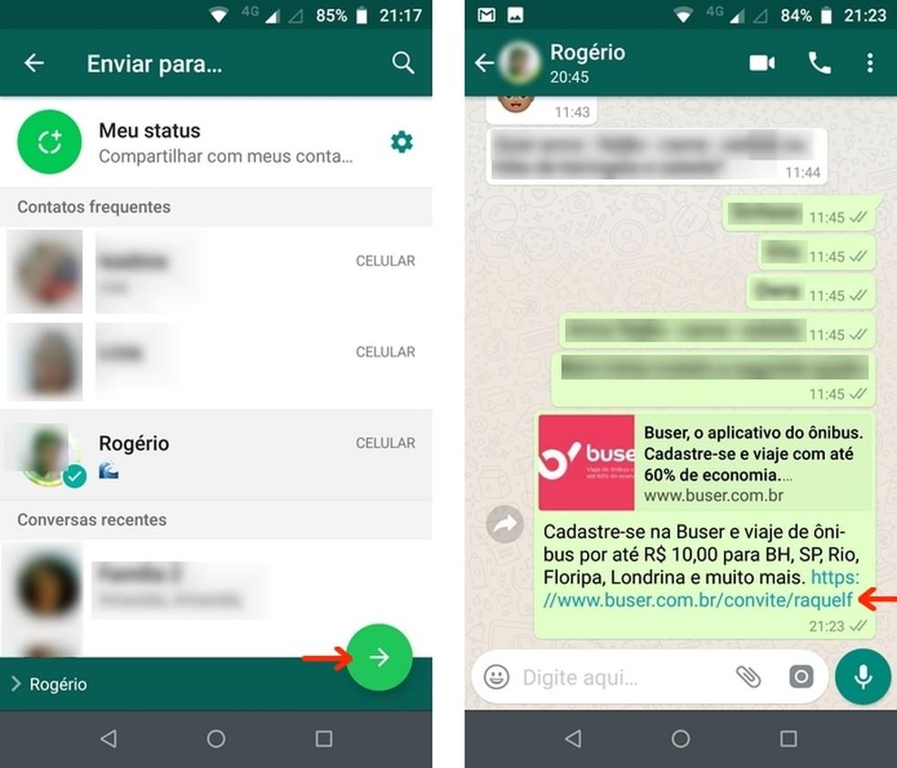 Envio de código promocional pessoal do Buser via WhatsApp — Foto: Reprodução/Raquel Freire