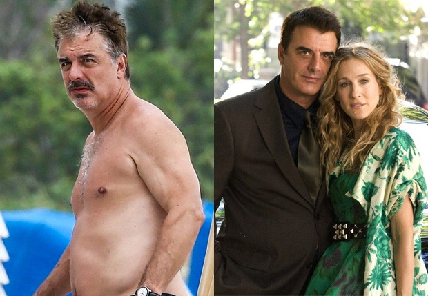 Chris Noth em 2018 e com Sarah Jessica Parker na época de Sex and the City (Foto: BackGrid e Divulgação/HBO)