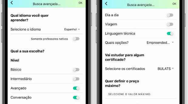 Telas do aplicativo WannaClass, que conecta professores de idiomas a alunos (Foto: Divulgação)