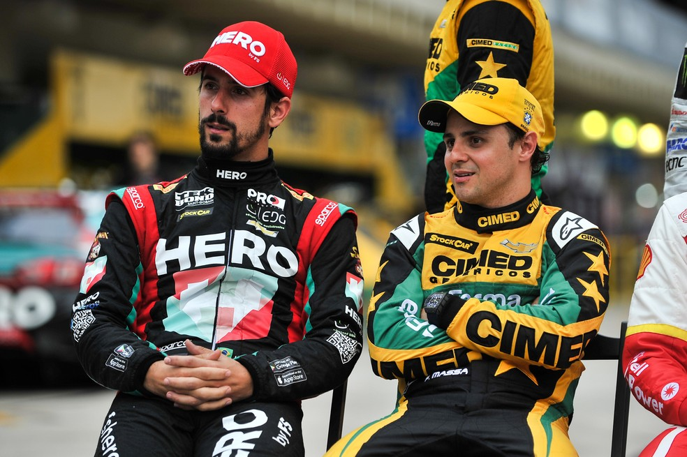 Lucas di Grassi e Felipe Massa na Stock Car (Foto: Duda Bairros / Stock Car)