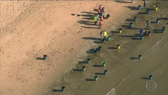 Manchas de óleo chegam à Praia de Barra de Jangada, em Jaboatão dos Guararapes (PE)