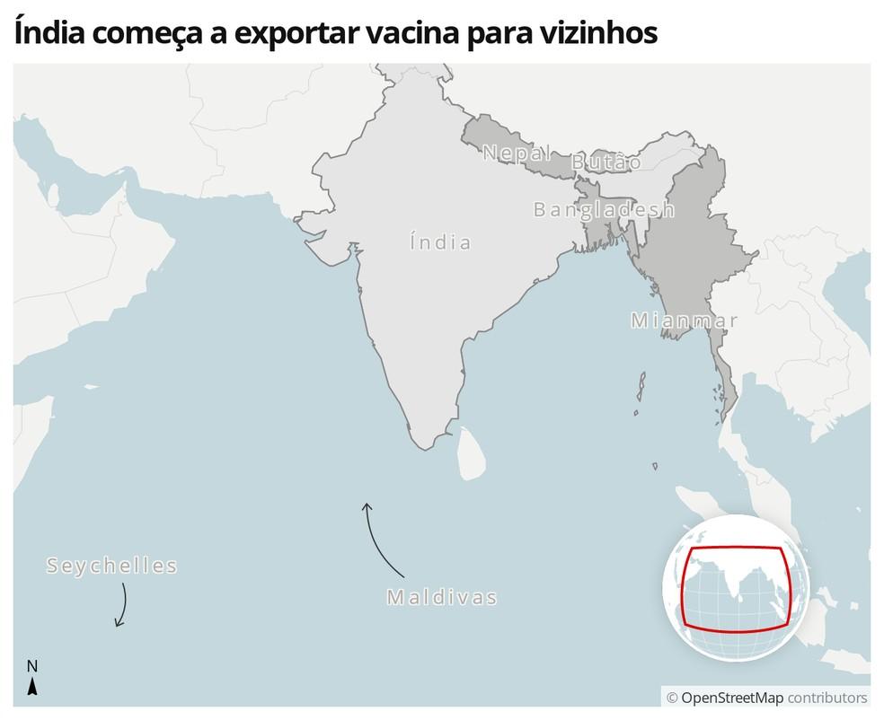 Mapa mostra países que vão importar vacina contra Covid-19 da Índia — Foto:  G1