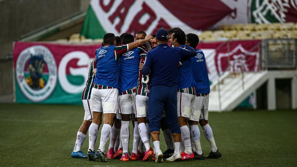 Fluminense comemora gol e classificação contra Portuguesa — Foto: Lucas Merçon/FFC