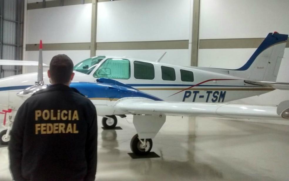 Avião apreendido em Campo Grande na 3ª fase da Operação Lama Asfáltica (Foto: PF/Divulgação/Arquivo)
