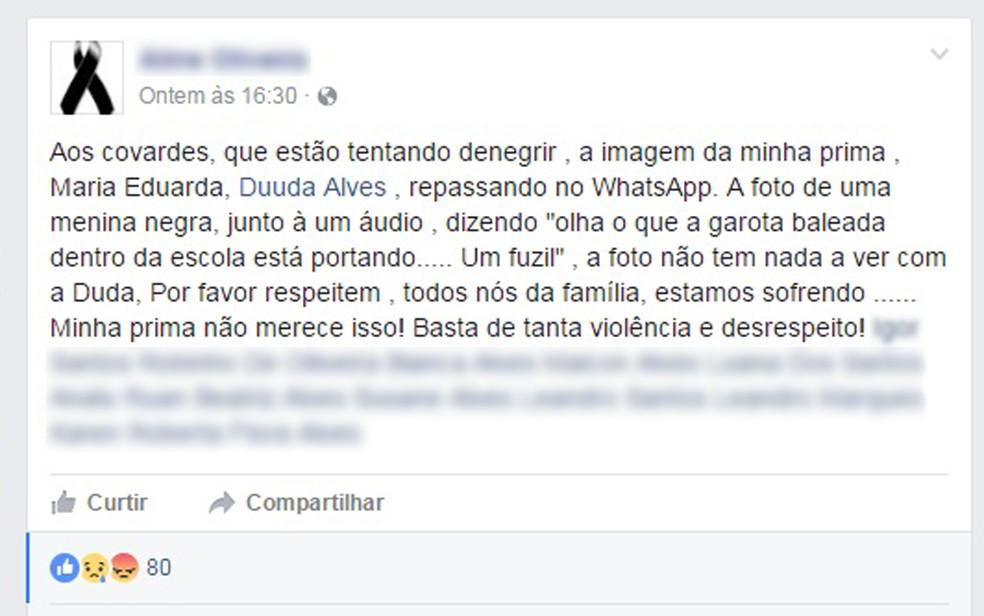 Família desmente informações divulgadas na internet (Foto: Reprodução/ Facebook)
