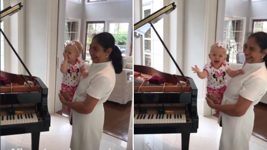Manuela, filha de Eliana, se encanta ao ouvir música (Foto: Reprodução/Instagram)
