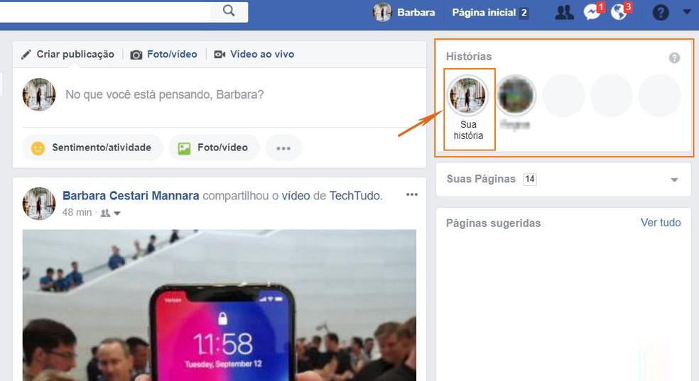 Encontre suas Facebook Stories pelo PC (Foto: Barbara Mannara/TechTudo)