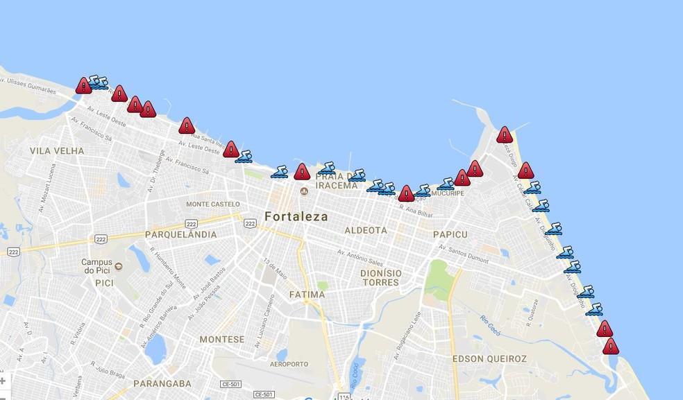 Pontos de balneabilidade das praias de Fortaleza nesta sexta-feira (4) (Foto: Reprodução/Semace)