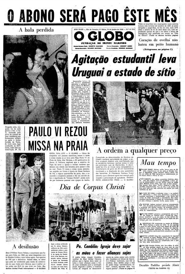 Capa do dia 14/06/1968