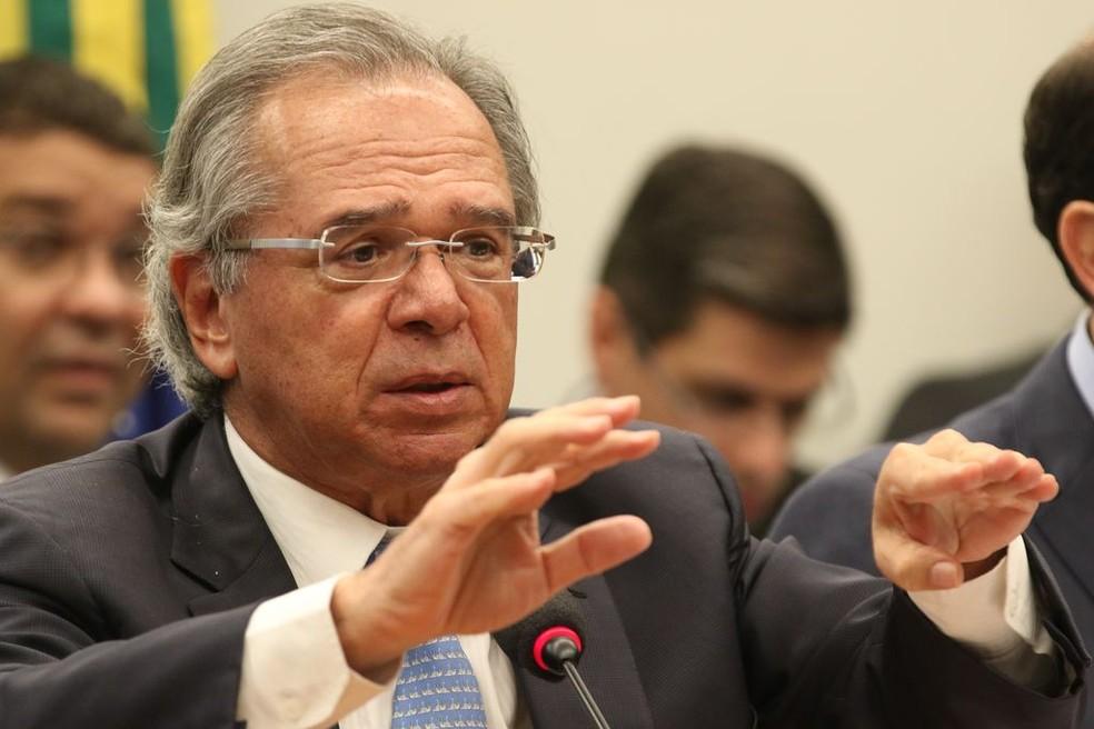 O ministro da Economia, Paulo Guedes, durante audiência pública na Comissão Mista de Orçamento, em Brasília — Foto: Fabio Rodrigues Pozzebom