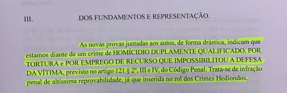 Em documento, polícia  argumenta que Henry sofreu tortura — Foto: Reprodução