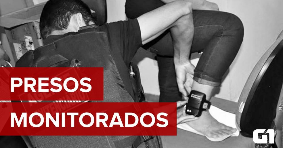 Agente penitenciário instala tornozeleira eletrônica em detento (Foto: Arte/G1)
