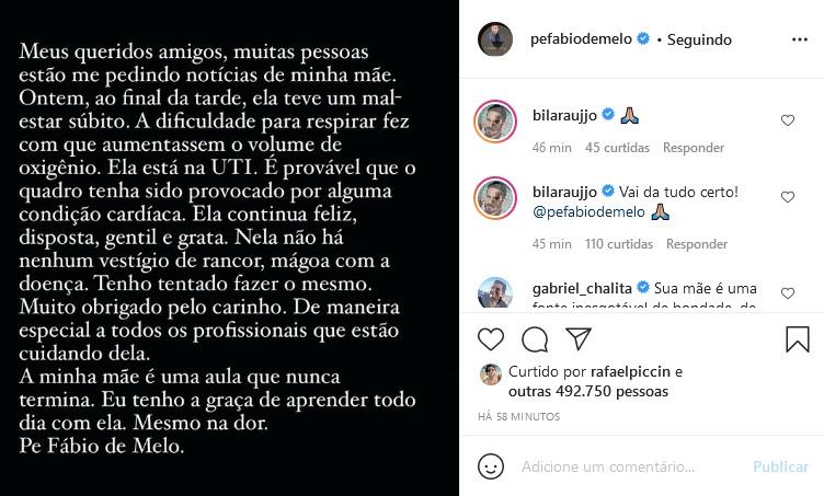 Padre Fábio de Melo fala do estado de saúde da mãe (Foto: Reprodução/Instagram)
