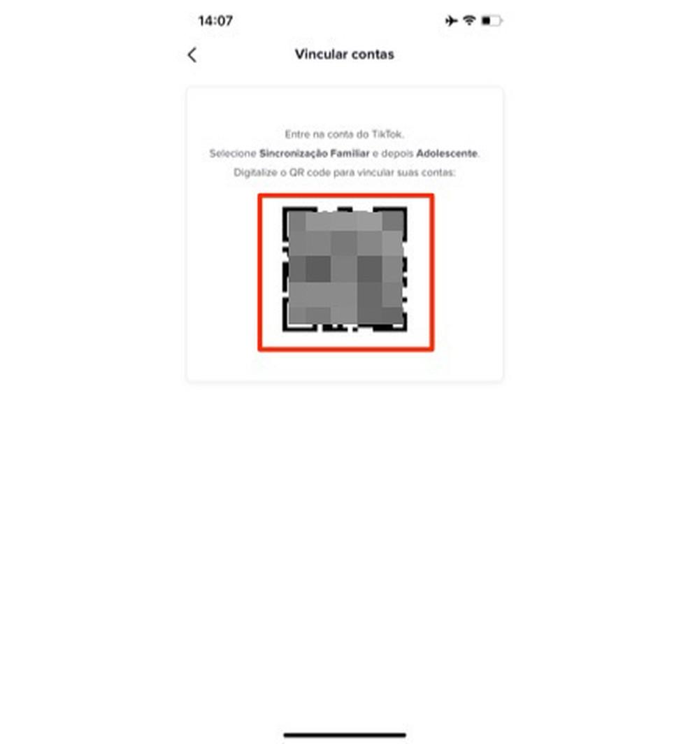 Código QR será lido pelo aplicativo TikTok que será vinculado a uma conta de pai ou mãe — Foto: Reprodução/Marvin Costa