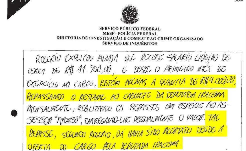 Trecho de entrevista de servidor à PF cita repasse de parte do salário à deputada Iracema Portella (PP-PI) — Foto: Reprodução