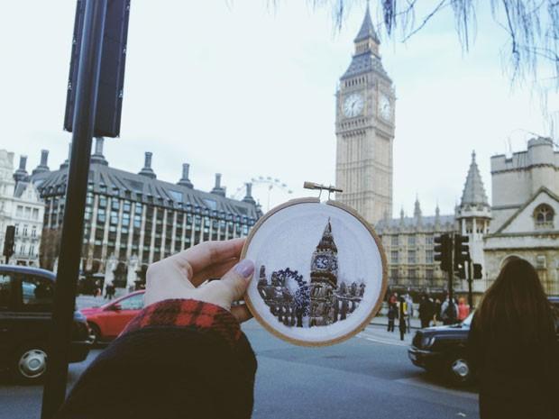 O Big Ben, em Londres, nos bordados de Teresa (Foto: Teresa Lim/Arquivo pessoal)