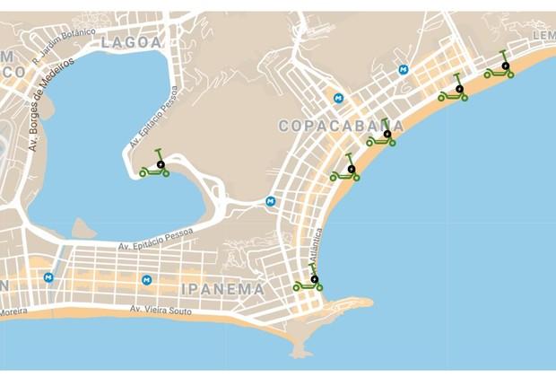 Mapa com estações de patinetes elétricos da Tembici (Foto: Tembici)