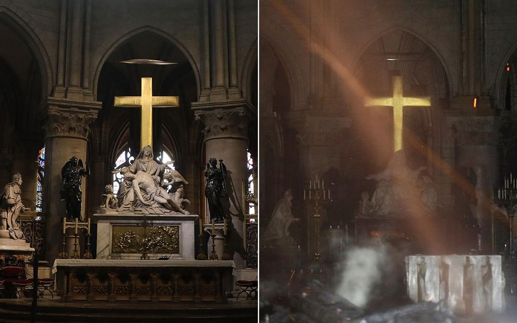 Altar do interior da Catedral de Notre Dame, em Paris, em imagens de 26 de junho de 2018 e desta segunda-feira (15), após incêndio — Foto: Ludovic Marin/Arquivo AFP; Philippe Wojazer/Pool/AFP