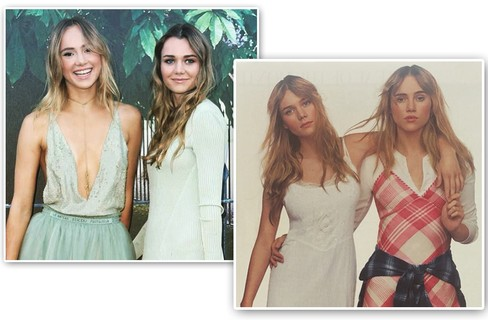 As modelos e it girls britânicas Suki e Immy Waterhouse