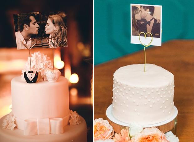 Topo de bolo de casamento: Fotos do casal (Foto: Pinterest/Reprodução)
