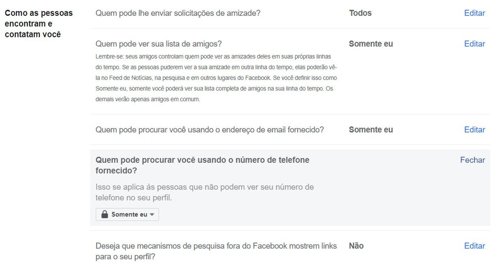 Configurações de privacidade do Facebook podem impedir que outras pessoas encontrem seu perfil pelo e-mail e pelo telefone. — Foto: Reprodução