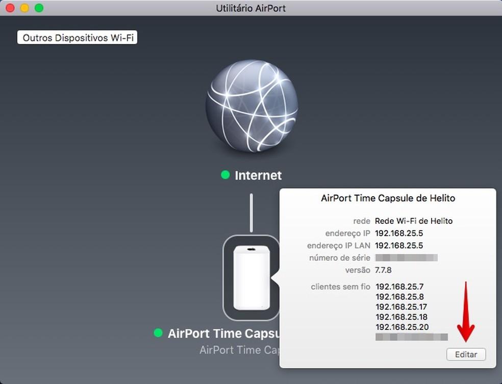 Acesse as configurações do AirPort (Foto: Reprodução/Helito Bijora)