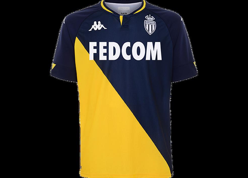 Nova camisa reserva do Monaco para temporada 2020/2021 — Foto: Divulgação