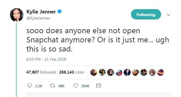 Mensagem de Kylie Jenner que aparentemente deu um grande prejuízo ao Snapchat (Foto: Reprodução)